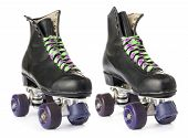 stock photo of roller-skating  - Retro roller skates isolated on white background - JPG