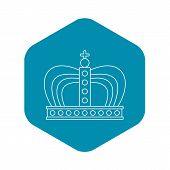Monarchy Crown Icon. Outline Illustration Of Monarchy Crown Icon For Web poster