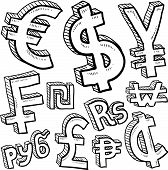 pic of shekel  - Doodle style currency symbol set including euro - JPG