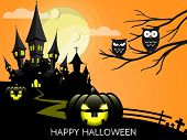 Halloween Creepy Forest With Haunted House, Jack O Lantern And Full Moon And Happy  Halloween Text.  poster