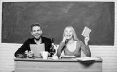Having Fun In College. Carefree Students. Enjoying Time In College. Guy And Girl Sit Classroom. Stud poster