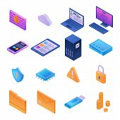 Firewall Security Icons Set. Isometric Set Of Firewall Security Icons For Web Design Isolated On Whi poster