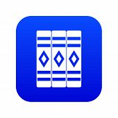 Three Literary Books Icon Digital Blue For Any Design Isolated On White Illustration poster