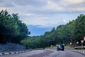 Russian Asphalt Roads. Background Road. Roads In The Mountains Of Crimea. Travel By Car. Road Views. poster