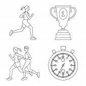 Vector Design Of Exercise And Sprinter Icon. Collection Of Exercise And Marathon Vector Icon For Sto poster