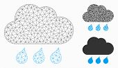 Mesh Rain Weather Model With Triangle Mosaic Icon. Wire Frame Polygonal Mesh Of Rain Weather. Vector poster