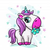 Unicorn Baby Cute Print. Sweet Tiny Pony. Cool Animal With Star And Flower poster