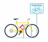 Bicycle Parking Flat Vector Illustration. Eco Friendly Vehicle At Public Stand With Road Sign. Locke poster
