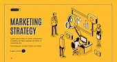 Marketing Strategy Isometric Landing Page, Financial Analytic Company Working Process In Office, Bus poster