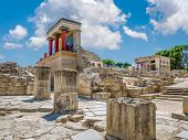 Knossos Palace Ruins At Crete Island, Greece. Famous Minoan Palace Of Knossos. poster