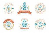Oktoberfest Badges And Labels Set Vintage Typographic Design Templates Vector Illustration. poster