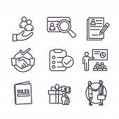 Hiring Process Icon Set And Benefits, Background Check, Introductions, Etc poster