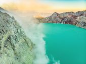 Aerial Shot Of The Ijen Volcano Or Kawah Ijen On The Indonesian Language. Famous Volcano Containing  poster