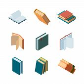 Books Isometric. Diary Open And Closed Magazines And Books Library Colorful Isometric Vector Collect poster