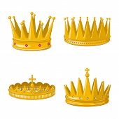 Vector Illustration Of Monarchy And Gold Icon. Set Of Monarchy And Heraldic Vector Icon For Stock. poster
