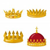 Vector Illustration Of Monarchy And Gold Sign. Set Of Monarchy And Heraldic Stock Vector Illustratio poster