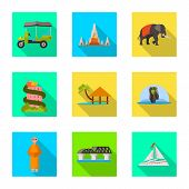 Vector Illustration Of Journey And Exotic Logo. Set Of Journey And National Vector Icon For Stock. poster
