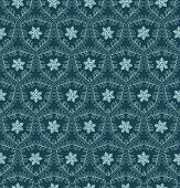 Hand Drawn Abstract Winter Snowflakes Pattern. Stylish Crystal Stars On Green Background. Elegant Si poster
