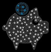 Glowing Mesh Rouble Piggy Bank With Glitter Effect. Abstract Illuminated Model Of Rouble Piggy Bank  poster