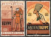 Egyptian Travel Vector Posters With Ancient Egypt Pharaoh, Sphinx Of Giza Pyramids And Horus God Wit poster