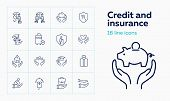 Credit And Insurance Icon Set. Set Of Line Icons On White Background. House, Car. Safety And Insuran poster