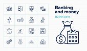 Banking And Money Icons. Set Of Line Icons On White Background. Bank, Banknote, Purse. Banking And M poster