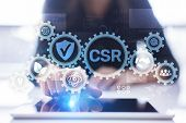 Csr Corporate Social Responsibility Business Technology Concept On Virtual Screen. poster