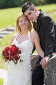 stock photo of wedding couple  - young couple on the wedding day portrait - JPG