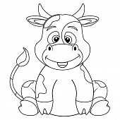 Coloring Book With Cow For Adults And Children. Vector Illustration Of Coloring Book. poster