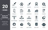 Quality Control Icon Set. Contain Filled Flat Correction, Efficiency, Infrastructure, Quality Policy poster
