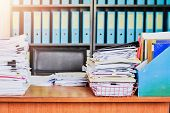Heap Of Paperwork Stack Documents On Office Desk , Business Documents Billing And Examination To Rep poster