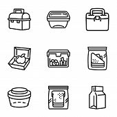 Food Lunch Box Icon Set. Outline Set Of 9 Food Lunch Box Vector Icons For Web Design Isolated On Whi poster