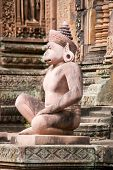 stock photo of hanuman  - Ancient Khmer carved statue of a monkey soldier - JPG