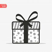 Illustration Of Gift Box Icon On Background. Christmas Gift Icon Illustration Vector Symbol. Present poster