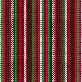 Christmas Sweater Striped Knitted Seamless Pattern Vector Design. Red Green White Winter Jumper Knit poster