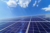 Solar Panel On Sky Background. Photovoltaic Power Supply Systems. Solar Power Plant. The Source Of E poster