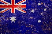 National Flag Of Australia  On Old Peeling Wall Background.the Concept Of National Pride And Symbol  poster