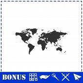 World Map Icon Flat. Simple Vector Symbol And Bonus Icon poster