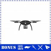 Drone Quadrocopter Icon Flat. Simple Vector Symbol And Bonus Icon poster