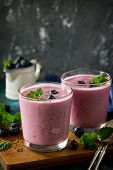 Healthy Chia Seed Pudding In A Glass With Blueberry On Slate Table. Healthy Breakfast, Vitamin Snack poster