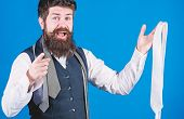 You Should Purchase It. Shop Assistant Pointing Finger And Offering Broad Assortment Of Neckties To  poster