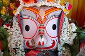 Idols Of God Balaram. Lord Balaram , Brother Of Lord Jagannath Is Being Worshipped With Garlands For poster