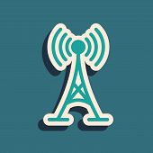 Green Antenna Icon Isolated On Blue Background. Radio Antenna Wireless. Technology And Network Signa poster