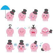 image of pervert  - Cute vector Octopus emotional icons  - JPG