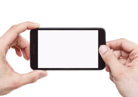 picture of mobile-phone  - Taking photo with smart phone isolated on white background with clipping path for the screen - JPG