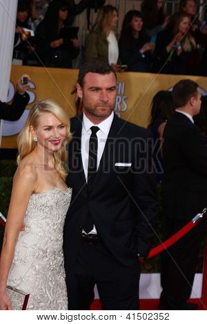 LOS ANGELES - JAN 27:  Naomi Watts, Liev Schreiber arrive at the 2013 Screen Actor's Guild Awards at the Shrine Auditorium on January 27, 2013 in Los Angeles, CA