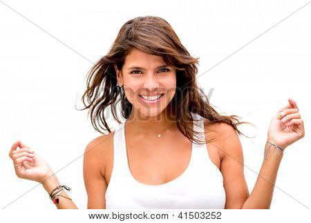 Gorgeous fun woman smiling in windy set - isolated over a white background