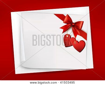 Valentine Background With Red Gift Bow And Two Hearts.vector