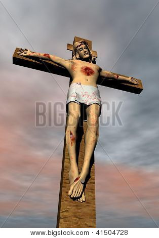 Jesus-Christ On The Cross - 3D Render