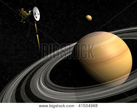 Cassini Spacecraft Near Saturn And Titan Satellite - 3D Render